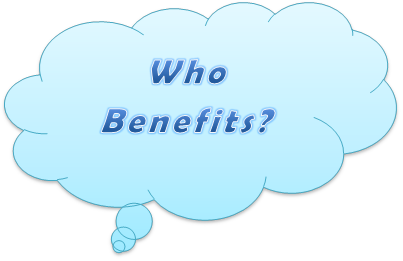Who benefits? thought bubble